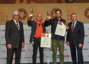 Chris Wisse (left) and Felix Dreyer (right), representative of the brewery, attended the award ceremony