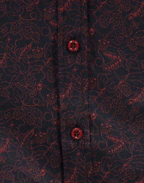 Zwart Rood Overhemd.Print Zwart Rood Detail Jopenbier Nl