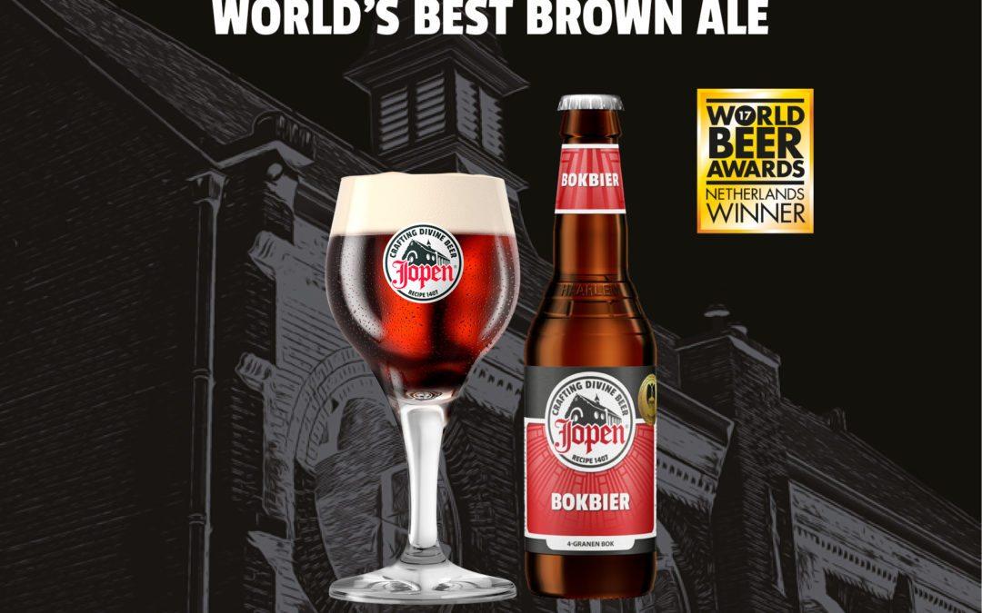 Jopen 4-granen Bokbier bekroond tot 'World's Best Brown Ale' tijdens World Beer Awards 2017