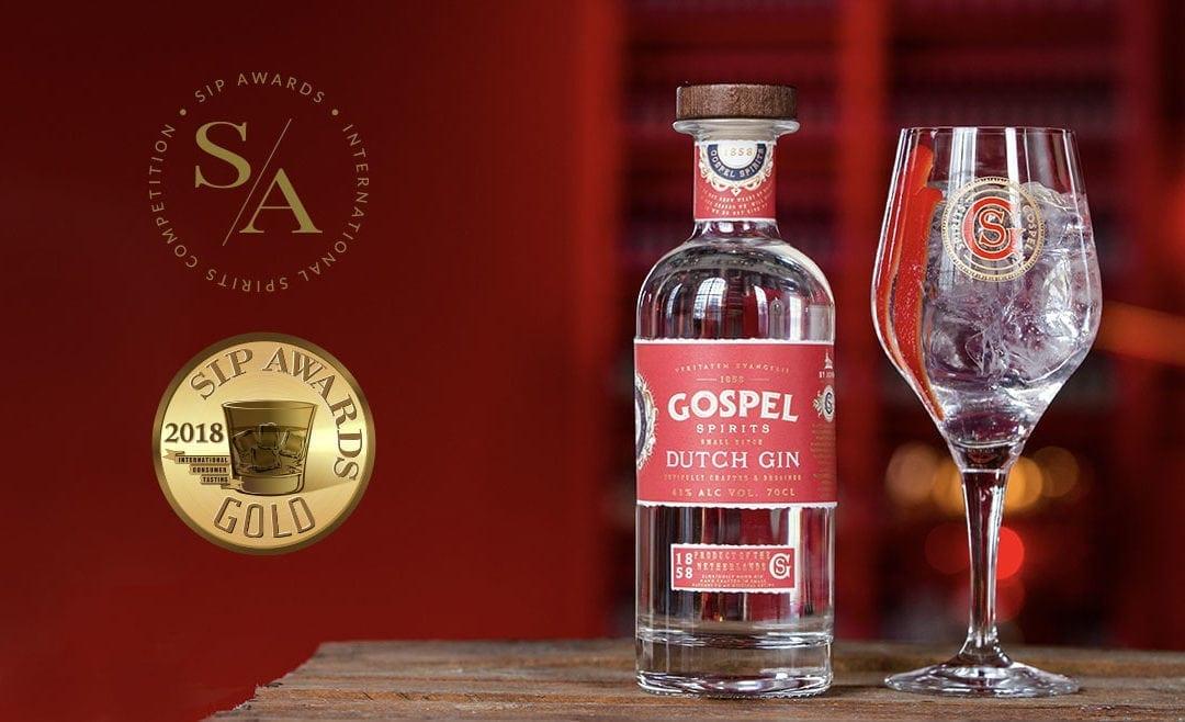 Gospel Spirits Dutch Gin wint goud  tijdens SIP Awards 2018
